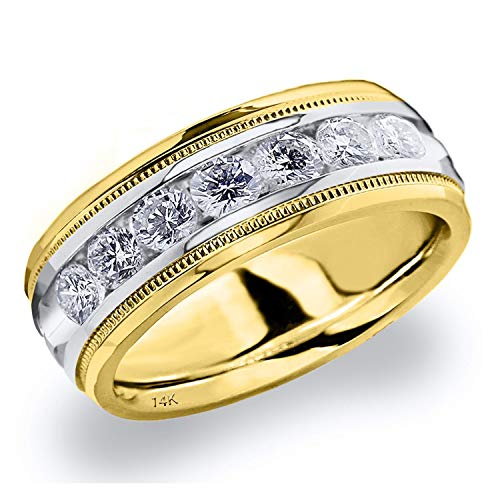 Men's 1ct Grooved Milgrain Diamond Ring in 14K Two Tone Gold - Finger Size 10 (Two Tiffany Ring Tone)