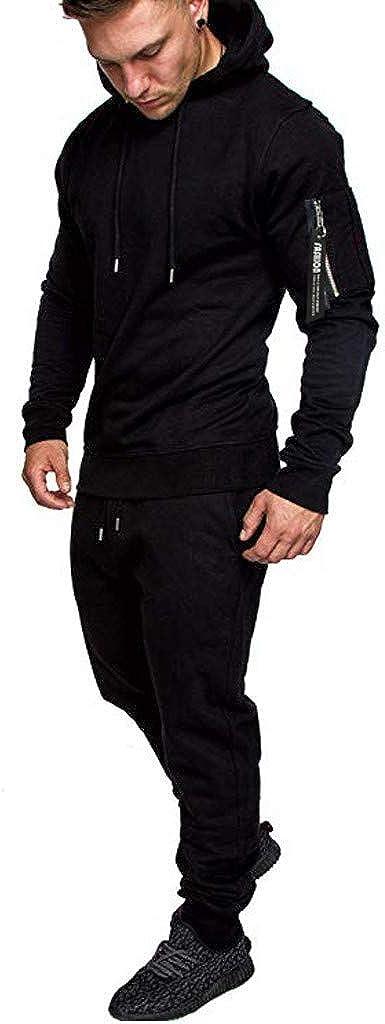 Men Tracksuit 2 Piece//Autumn Zipper Print Sweatshirt Pants Sets Tracksuit