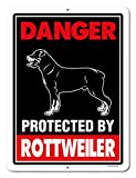 Rottweiler Sign Danger Protected by Rottweiler 9 x 12 Inch Beware of Dog Warning Metal Aluminum Tin Sign – Beware of Dog Signs for Fence For Sale