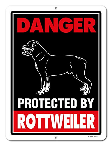 Rottweiler Sign Danger Protected By Rottweiler 9 x 12 Inch Beware of Dog Warning Metal Aluminum Tin Sign - Beware of Dog Signs for Fence by Honey Dew Gifts