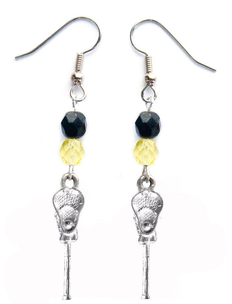 ''Lacrosse Stick & Ball'' Lacrosse Earrings (Team Colors Black & Yellow)
