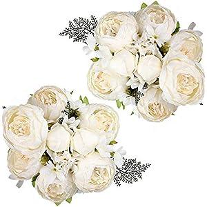 Nubry 2pcs Artificial Peony Silk Flowers Bouquet for Wedding Home Garden Decoration(White)