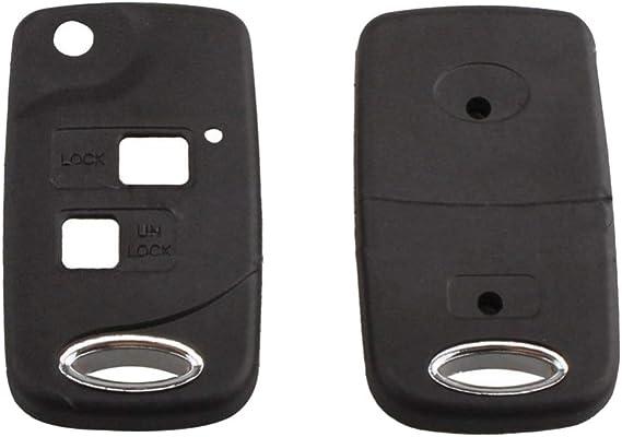 para Toyota Camry Corolla con Hoja sin Cortar Funda de Repuesto para Llave de Coche con 2 Botones kaakaeu Plegable