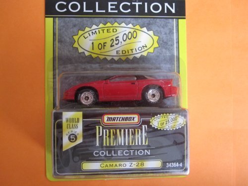 Camaro Z28 (red w black roof) Premiere Series 5 by Matchbox Toys