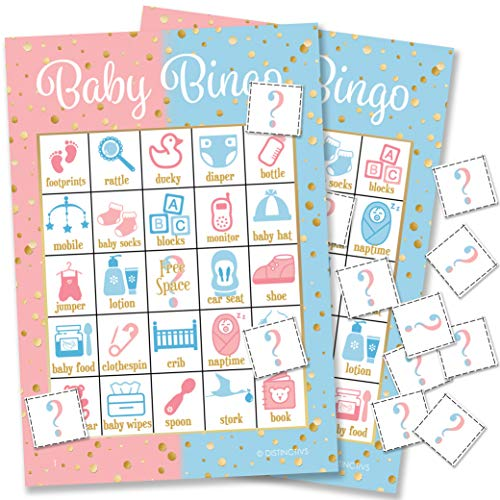 DISTINCTIVS Baby Gender Reveal Party Bingo Game - 24 Guests by DISTINCTIVS