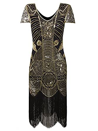 Vijiv 1920s Gatsby Flapper Dresses with Sleeves Sequin Art Deco Cocktail Dress