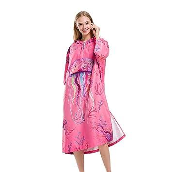 Traje de cambio de toalla Poncho Albornoz de secado rápido para adultos Poncho de toalla de ...