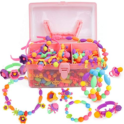 Axel Adventures Jewelry Making Kit - Pop Beads for 5 Minute Crafts and Arts - Supplies for Necklace, Headband, Rings, Bracelet Set - Birthday, for 3 Year Old Girls to - Bead Art