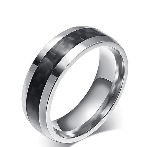 Gudeke 8mm Titan Ring Eingelegt Schwarze Carbon Faser Silber Weiss