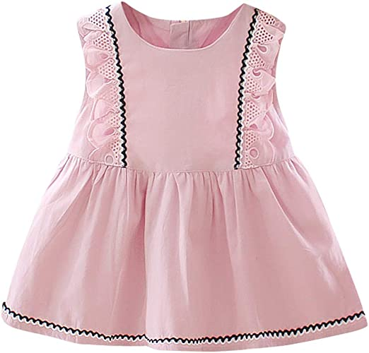 Infants Baby Girls Sleeveless Ruffles Lace Dress Sundress Clothes Princess Dress