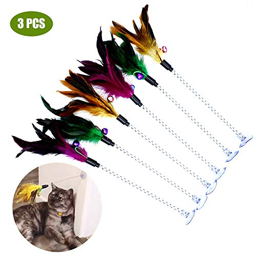 Cat Teaser Wand, 3 Packs Update Metal Wire Spring Cat Toy with Feather and Bell Sucker Cat Teaser Rod Interactive Cat…