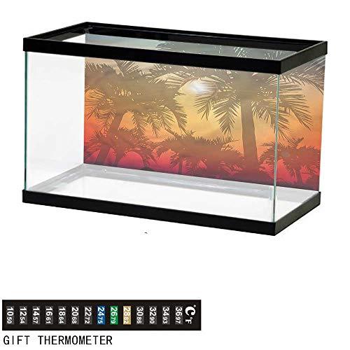 - bybyhome Fish Tank Backdrop Hawaiian,Palm Trees Abstract Style,Aquarium Background,36