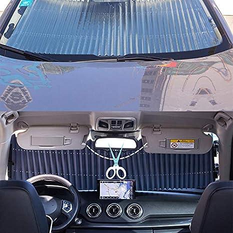 Zukabmw Auto Frontscheibe Sonnenschutz Windschutzscheibe Sonnenschutz Akkordeon Stil Automatisch Einziehbar Frontscheibe Sonnenschutz Sonnenschutz Sonnenschutz 65 Cm Universeller Typ Auto
