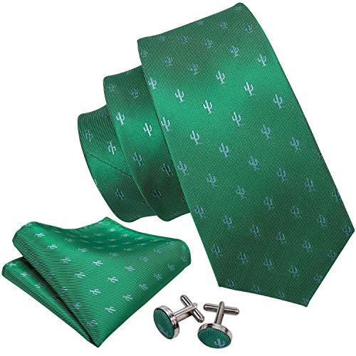 Barry.Wang Designer Ties for Men Set Silk Handkerchief Cufflink Green