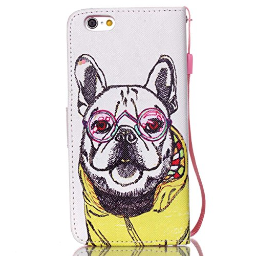 "iPhone 6S Plus / iPhone 6 Plus 5.5"" Coque , Apple iPhone 6S Plus / iPhone 6 Plus 5.5"" Coque Lifetrut® [ Vêtements pour chiens jaunes ] [Stand Feature] Colorful Case Mignon PU cuir portefeuille en cuir"