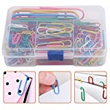 250 Pcs/Box Paper Clips, Assorted Colored Metal Binder Clips with Small/Medium/Large for Student Stationery Office Accessories