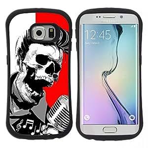 "Pulsar iFace Series Tpu silicona Carcasa Funda Case para Samsung Galaxy S6 EDGE / SM-G925(NOT FOR S6!!!) , Elvis cráneo Muerte Roca Rodillo Rojo Blanco"""