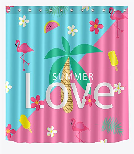 LB Summer Theme Shower Curtain Pink Flamingo with Palm Tree Leaf Fruit Cool Feel Tropical Flamingo Bathroom Set for Kids,60x72 Inch Waterproof Fabric with 10 Hooks