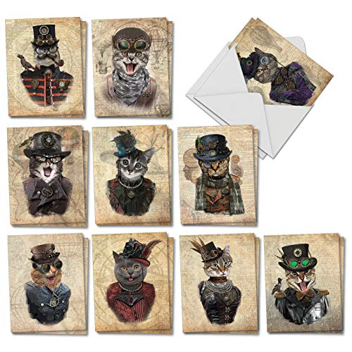(Steampunk Cats: 20 Assorted All Occasions NoteCards (Mini 4 x 5.12 inch) Featuring Fashionable Felines Dressed Up in All Their Victorian Steampunk Finery, with Envelopes. AM6554OCB-B2x10 )