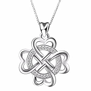 925 Sterling Silver Infinite Love Infinity Clover Heart Vintage Pendant Necklace, Box Chain 18""