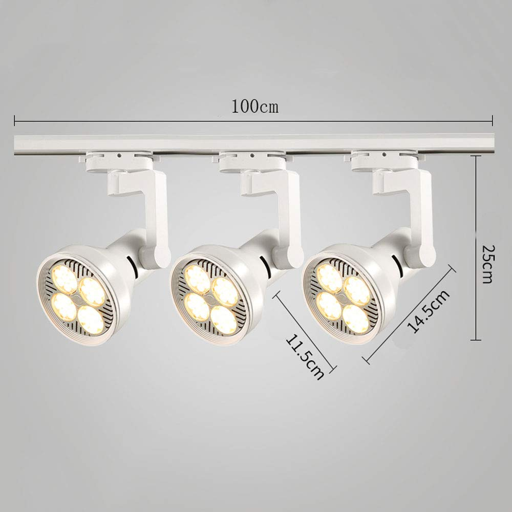 ZJⓇ Spotlight Track Light - LED Track Lights Wall Track Lights - Black/White - 20W/30W/40W - 3 Heads && (Color : White, Size : 30W)