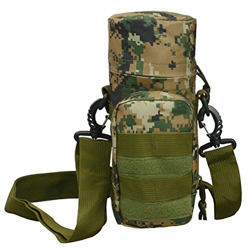 (Black Hawk Commandos Military Tatical Molle Water Bottle Pouch H2O Holder Attachment Shoulder Waist Bag with Belt for Outdoor Sports)