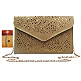 ZLMBAGUS Women Hollow Out Floral Pattern Envelope Handbag Fashion PU Tote Evening Clutch Chain Crossbody Shoulder Bag Khaki