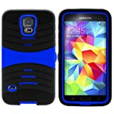 MINITURTLE, Premium Durable Rugged Shell Hybrid Protective Phone Case Cover with Built in Kickstand, Stylus Pen, and Clear Screen Protector Film for New Android Smartphone Samsung Galaxy S5 V (Black / Blue)