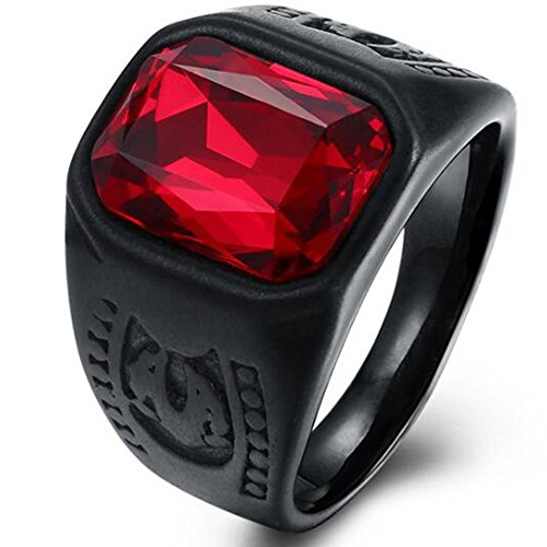 (Jude Jewelers Black Stainless Steel Red Crystal Signet Biker Ring (Black, 8))