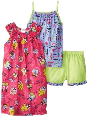 Komar Kids Big Girls'  Sweet Moustache Pajama Set