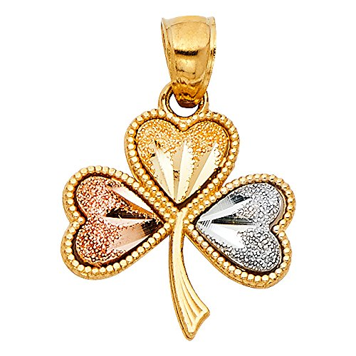 Solid 14k Yellow White Rose Gold Clover Heart Pendant Irish 4 Leaf Celtic Charm Polished 15 x 15 mm 14k Yellow Gold Leaf