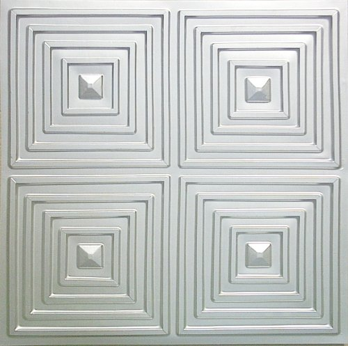 Cheap Discounted Modern Plastic Ceiling Tile Nickel Silver Finish 125 P.v.c 24'x24' FIRE Rated.drop,suspended Ceiling.glue On,nail On,tape on Staple On!