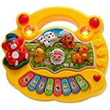 Munchkin Land Musical Animal Farm Piano Toy with Flashing Light & Sound for Kids with Real Animal Sound, LED Flash Light- Random Colours
