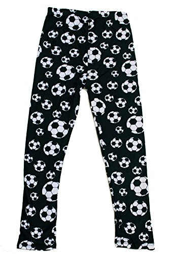 iZZYZX Kid's B&W Soccer Ball Sports Pattern Printed Leggings - S/M (Ball Print Soccer)