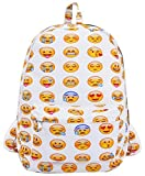 Coofit Cute Emoji Backpack for Kids Cool Backpack Purse Book Bag School Bag White