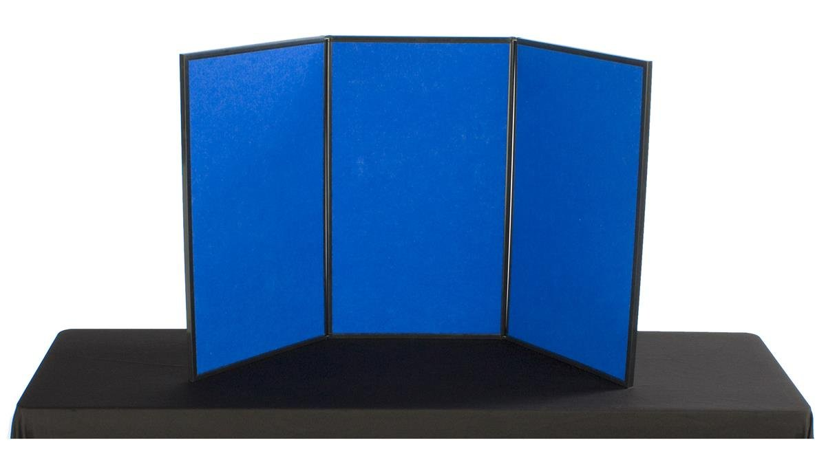 Displays2go 3-Panel Table Presentation Board, 54 x 30 Inches, Blue Velcro Fabric and White (3PV5430BLU)