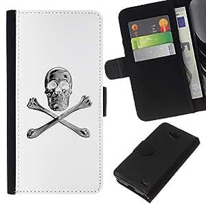 iBinBang / Flip Funda de Cuero Case Cover - Blanco Plata Crossbones Cráneo Negro - LG OPTIMUS L90