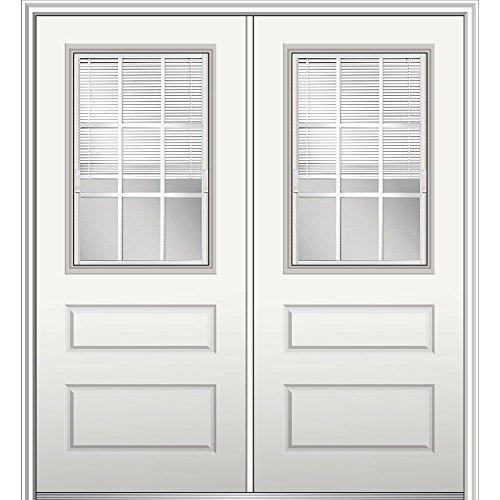 """National Door Company Z029711R Fiberglass Smooth, Primed, Right Hand In-Swing, Exterior Prehung Door, Internal Blinds 1/2 Lite 2-Panel, 72""""x80"""""""