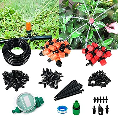 "Auto Watering Drip Kit with Timer, 1/4"" Blank Distribution Tubing Plant Irrigation Kit 2 Types Nozzle Auto Garden Irrigation System Micro Drip Irrigation System Irrigation Spray for Flower, Lawn"