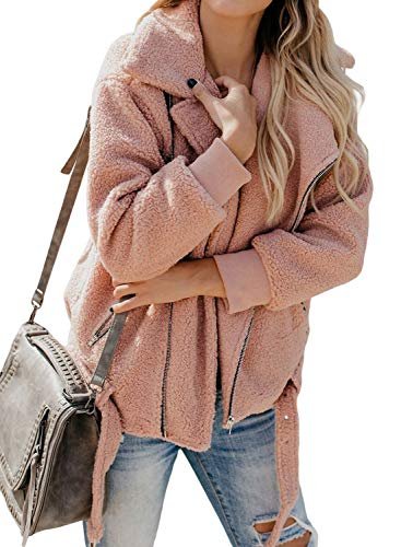 Acelitt Women's Casual Loose Winter Thick Warm Fuzzy Fluffy Fleece Zip up Open Front Long Sleeve Coat Outerwear Cardigans Jackets with Pockets Solid Pink Large