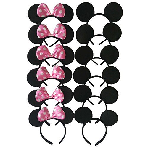 (CHuangQi Mouse Ears Solid Black and Pink Bow Headband for Boys&Girls Birthday Party)