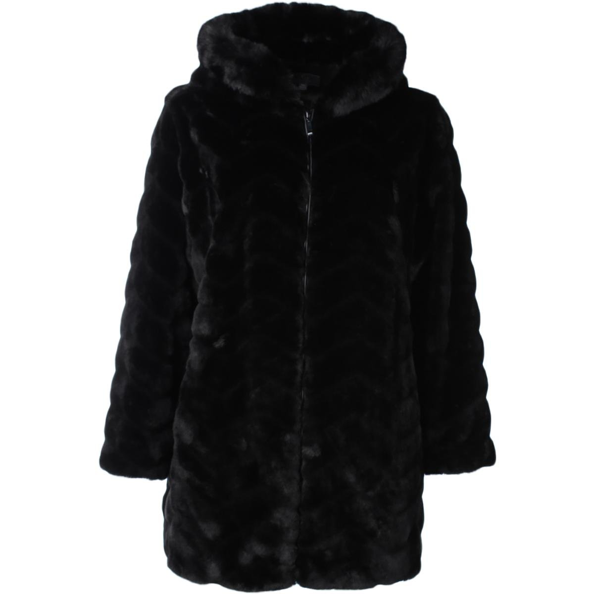 Gallery Womens Plus Winter Warm Faux Fur Coat