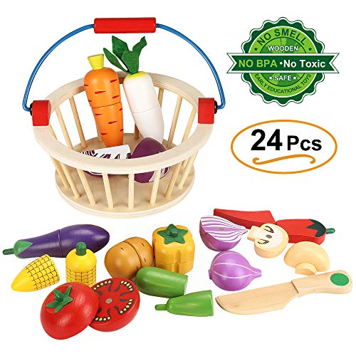 Ylovetoys Play Food Cutting Vegetables Play Food Set Wooden Magnetic Pretend Play Food Sets Kitchen Toys with Basket for Kids Children Toddler(Vegetables)