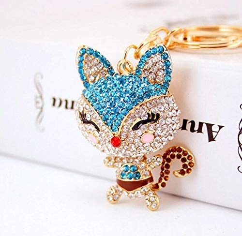 Diamond Animal Civet Cat Keychain Purse Pendant Car Holder Key Ring Gift(Blue)