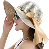 Lanzom Womens Wide Brim Straw Hat Floppy Foldable Roll up Cap Beach Sun Hat UPF 50+ (Style C-Khaki)