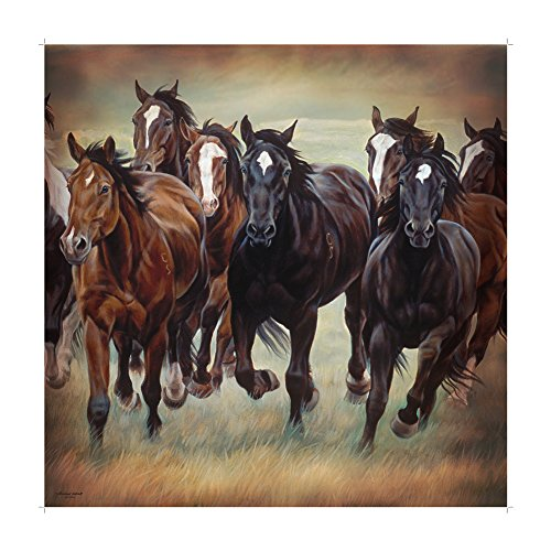 DeLeon Collections Galloping Horses Shower (Horse Bathroom Shower Curtain)
