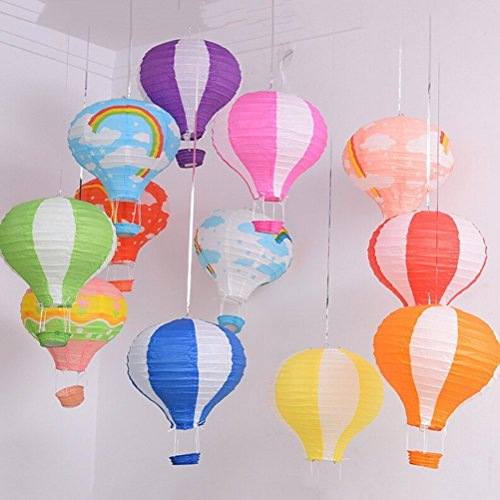 Worldoor Hot Air Balloon Paper Lantern Chinese Japanese Paper Lamps Party Paper Lanterns Lantern Ball Lamps Decorations Christmas String Lights Rainbow Mixed Colors 12'', Set of (Japanese Paper Ball)