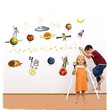 BIBITIME Universe Planets Spaceship Astronaut Robot Meteorite Outer Space Wall Decals Sticker for Kids Rooms Decor Earth Satellite Moon Star Vinyl Art Sticker