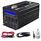 Novopal 1500W Pure Sine Wave Power Inverter 3 AC Outlets DC 12v to AC 120v with Remote Control, Big LCD Display( Surge 3000W)