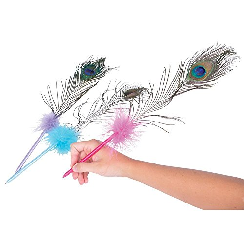 Dazzling Toys High Quality Real Natural Peacock Feathers 17 Inch Pens- Pack of 12